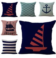 Wholesale boat rudders - Sailing Boat Anchor Rudder Pillow Case Cushion cover Linen Cotton Throw Pillowcases sofa Bed Car Decorative Pillow covers free shipping