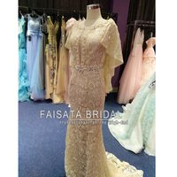 Wholesale Dreses Sequins - Real Photos Lace Champagne Crystal Evening Dress Mermaid Muslim Arabic Celebrity Party Gowns New Yousef Aljasmi Kaftan Backless Prom Dreses