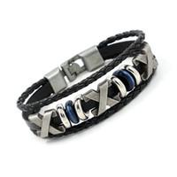 Wholesale Mens Braided Steel Jewelry - Vintage Mens Leather Charm Bracelets Fashion Beaded Braided Bracelets Wristband For Men Women Black Brown X Bracelets Jewelry Punk Bangles