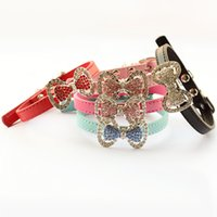 Wholesale Leather Cat Collars Rhinestones - armipet Fashion Rhinestone Bow Dog Collar Dogs Cat Princess Collars 6041012 Pet Leashes Accessories XS S
