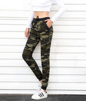 Wholesale Harem Pants Woman Camouflage - 2017 New arrival Women sweatpant Camouflage Jogger Pant Harem Loose Long Pant With pocket Drawstring Original 5020