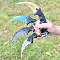 herramientas cs al por mayor-Venta al por mayor, CS GO Neck Claw Knife Counter Strike Karambit Tactical Knife hecho a mano Fighting Claw caza cuchillos supervivencia al aire libre herramientas de camping