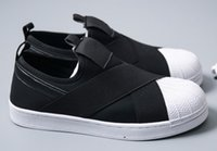 Wholesale Superstar Factory - Free shipping Factory Price Summer Y3 Men Women Shell Toe Black White Low Breathable Shoes Superstar Slip On Crossed Strap Casual Shoes