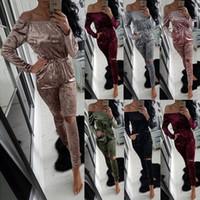 Wholesale Casual Elegant Jumpsuit - Elegant Off Shoulder Crushed Velvet Jumpsuits for Women Fashion Casual Long Pants Ladies Jumpsuits Romper Womens Plus Size CK1062