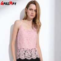 Wholesale Strapless Cami - GAREMAY Lace Cami Women Summer Tops Elegant White Strapless Camisole Hollow Solid Pink Halter Fashion Sexy Blusa For Women 1085