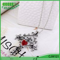 CJW121 Cuichuang Cross Necklace Novo Fahion Vintage Style Vampire Diaries Red Sacred Heart Memorial Cross Pendant Necklace
