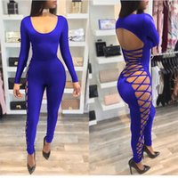 Wholesale Casual Jumpsuits For Women Plus - 2017 summer style lace up sexy club party jumpsuit plus size S-XL skinny jumpsuits and rompers for women XD794