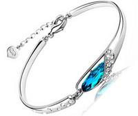 pulseira de diamante de safira azul venda por atacado-Luxo Sapphire Pulseiras Jóias New Style Encantos Azul Áustria Diamante Pulseira 925 Sterling Silver Sapatos De Vidro Mão Jóias 10 pcs