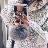Wholesale Iphone Case Rabbit Mirror - Gold Luxury Metal Rope Mirror Tassel phone Capa fake rabbit fur ball For iPhone 7 7Plus 6 6S 6plus 4 5 S 5S SE Back Cover Case