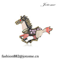 Wholesale Antique Horse Pin - 100PCS Lot China Wholesale New Design Women's Gunmetal Tone Antique Pink Peach Horse Stallion Brooch Pin