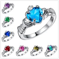 Wholesale Love Ring Band Silver - midi rings Fashion Creative 925 sterling silver Crystal Zircon Love Ring Women's Jewelry cubic zirconia rings sterling silver sapphire jewel