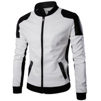 Wholesale Matches Leather Jackets - 2017 NEW top quality fashion men white leather jackets and coats pu match color overcoat M-5XL AYG94