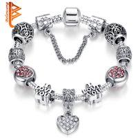 liebesschieber armband großhandel-BELAWANG Silber Überzogene Herzform CZ Anhänger Charm Armbänder Brief