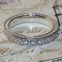 nscd simüle edilmiş elmaslar toptan satış-Süper 3.5mm Lüks kalite NSCD benzetilmiş elmas vintage tam sonsuzluk yüzük düğün band Için Parti yıldönümü yüzük DR096 ccp