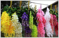 Wholesale Cane Wall - Simulation Wisteria Flower Artificial Flowers Romantic Wedding Decorations 110CMx12pcs 6 colors Cane Garden Dried Silk Wreaths Flowers Hot