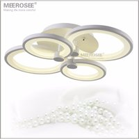Wholesale Wedge Rings - Modern LED Chandelier Light Fixture White Acrylic LED Ring Lamp for Living room Flush Mounted Lamparas de techo