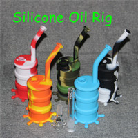 Wholesale Glow Dark Glasses Wholesale - Glow in dark food grade silicone bong Silicon dab rig with glass accessories ,non-stick silicone bongs for free shipping