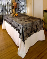 Wholesale Decoration Spider - halloween black spider web lace tablecloths for decoration bat lace table cover 122x244cm 48x96inch free shipping