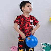 Wholesale Cool Shirts Collar Style - Little Boy Kids Clothing T-shirt Round Collar Printing Letter Red Short Sleeves Cotton Summer Breathable Soft Leisure Cool Fashion Style