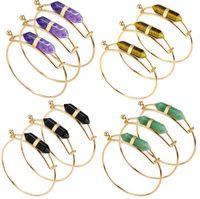 Wholesale Healing Crystal Pendulum - NEW Gold wire wrap bangle black agate lapis Hexagonal crystal point bracelet Pendulum Healing Stone Chakra Crystal Reiki Jewelry AA130
