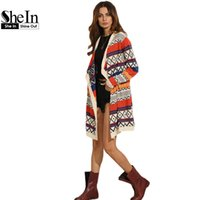 Wholesale Open Front Color Cardigan - Wholesale-SheIn Long Cardigan Multicolor Lapel Long Sleeve Cardigan Women Geometric Pattern Open Front Waterfall Cardigan