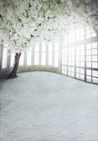 fond de photos en intérieur achat en gros de-Fleurs blanches Arbre Photographie de mariage Décors Intérieur Windows Pétales Étage couvert Saint Valentin Enfants Enfants Photo Studio Contexte