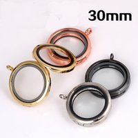 Wholesale Metal Photo Frame Pendant - Alloy Metal Glass Floating Lockets Easy To carry DIY Living Memory Locket No Chain Round Photo Frame Pendant Electroplate 6 by B