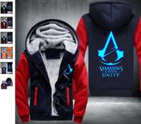 Wholesale Mens Sh - 2018 Fashion Assassin's Creed Brotherhood Noctilucent Hoodie Logo Winter JiaRong Fleece Mens Sweatshirts Free Shipping USA Size fast sh