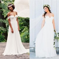 Wholesale Inexpensive Wedding Dress Chiffon - Stunning Beach Wedding Dresses Ruched Chiffon Lace Appliqued Off Shoulder Vintage Bohemian Bridal Gowns with Sweep Train Inexpensive