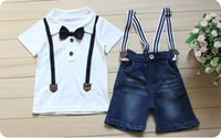 Wholesale Boys Cowboy Shirt - Boys Summer cowboy outfits 2pc set short bow sleeve T shirt+suspender Jeans Pants for 2-7T baby and big boys