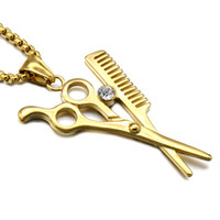Wholesale Scissor Comb Jewelry - HIP Hop Iced Out Stylist Beautician Necklace Gold-color Stainless Steel Scissor And Comb Pendants Necklaces for Men Jewelry