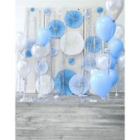 Wholesale Custom Photo Balloons - Vinyl Backdrops for Photography Blue White Balloons Grey Wood Floor Newborn Baby Photo Prop Boys Birthday Backgrounds Custom
