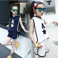 Wholesale Korean Casual Wear Girls - 2017 Summer New Korean Girls' Basketball Casual Wear Printing Letter Set A-4
