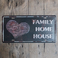 tin painting house numbers - Family Love Home House vintage embossed metal tin signs garage car plate licence number plate painting plaque picture x30cm