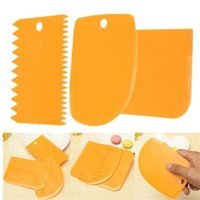 Wholesale Tools Spatulas - Plastic Cake Smoother Cake Scraper Spatula Set Dough Cutter Blade For Cakes Icing Christmas Baking Tools DHL Free Shipping 3pcs set