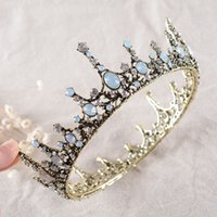 Wholesale Blue Crystal Wedding Headpiece - Stunning Baroque Crowns For Wedding Cheap Bridal Accessories Rhinestoes Tiaras Cheap Headpieces Headbands Hair Jewely For Formal Event