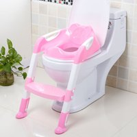 Wholesale Folding Step Ladders - 2 Colors Baby Toilet Trainer Safety Seat Chair Step with Adjustable Ladder Infant Toilet Training Folding Seat 2110111