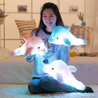 1pcs 45cm Dolphin PLush Luminous Plush Glowing Dolphin Doll Colorful Pillow, brinquedos de peluches, Hot Colorful Doll Kids Children Gifts