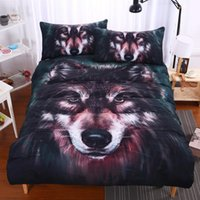 Wholesale Vivid Paintings - Wolf Bedding Set Painting 3D Vivid Duvet Cover With Pillowcases Twill Cool Bed Set 3pcs Twin Full Queen King home textile