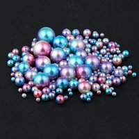 Wholesale Pearl Blue 6mm - Nail Decorations Blue RainBow Color No Hole Round Pearls 3mm 4mm 5mm 6mm Imitation Pearls Craft DIY Wedding Dresses Decorations