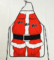 Wholesale Bibs Santa Claus - Santa Claus Ho Ho Ho Red Bib Apron Christmas Dressing Decorations Holiday Party Dinner Costume Kitchen 50*70cm Polyester Fabric Gift ZA1451