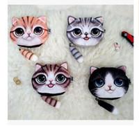 Wholesale Dhgate Bags - Women Purse Cat 3D Coin Purse Bag Wallet Girls Clutch Purses Printer Cat face Change Purse cartoon handbag case Free Shipping Dhgate