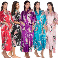Wholesale womens satin sleepwear - Womens Solid Royan Silk Robe Ladies Satin Pajama Lingerie Sleepwear Kimono Bath Gown pjs Nightgown With High Quality