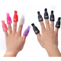 Wholesale Uv Gel Polish Art - 10 Pcs set Nail Art Plastic Gel Nail Polish Remover Soak Off Cap Clip UV Gel Polish Wrap Tools Fluid
