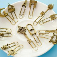 Wholesale metal clip bookmark resale online - New Fashion Piece Cute Metal Bookmark Vintage Key Bookmarks Paper Clip For Book Stationery School Office Book Marks