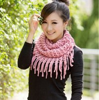 Wholesale-2016 Mulheres Candy Color Ring cachecol Inverno Warm Fashion Mulheres Knitted Tassels Shawl Scarf Atacado
