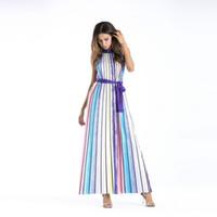schönes, schlankes kleid großhandel-2017New Frauen schöne farben striped gedruckt Kleid frauen Sexy Lange party dress elegante dünne maxi Kleid 7686 S-XL