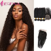 Wholesale Deep Weave Brazillian Hair - 4 Bundles Brazillian Curly Virgin Human Hair Weaves With Closure Unprocessed Brazillian Deep Kinky Curly Hair And Lace Closures Natural Colo