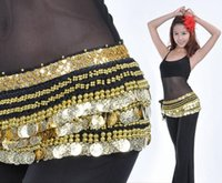 Wholesale Long Belly Dance Belt - Free EMS DHL 10pcs Heavier & Longer Handmade Belly Dance Belt Hip Scarf 338 Gold Coins Wrap Belt Skir