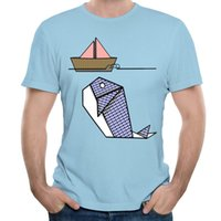 Wholesale Paper Origami Designs - Creative Design Tee Origami Whale Beneath Paper Boat Men Soft Daily Short Sleeve T-shirts Light Blue Tops 3xl Mens T Shirt